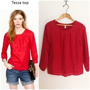 J. Crew Linen Bright Red Tessa Button Blouse Shirt